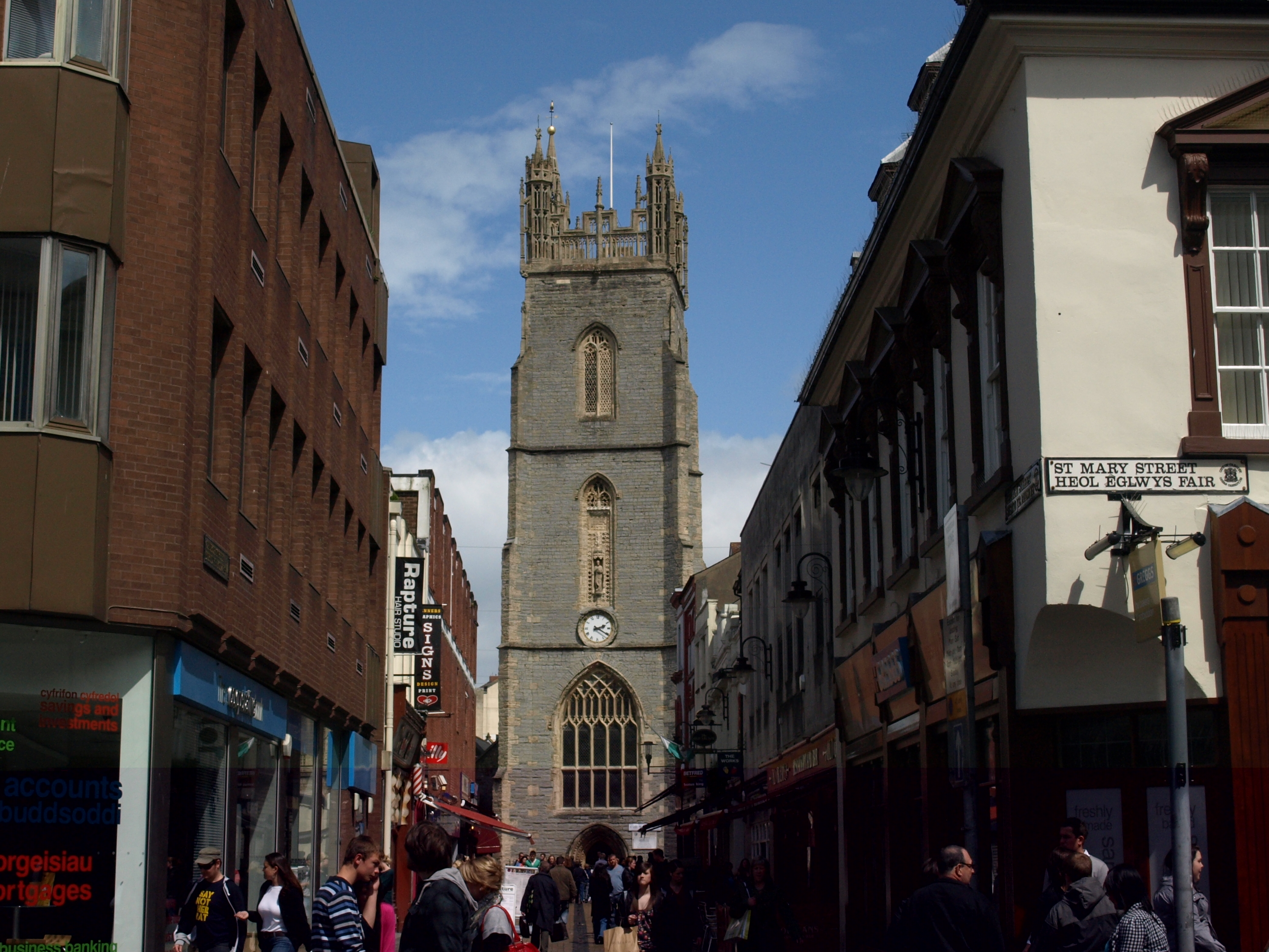 Tower of the Parish of St John the Baptist Seen Along St. Mary Street